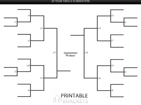 20 team single elimination bracket