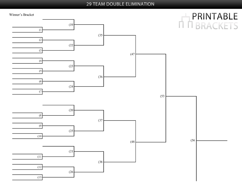 29 team double elimination bracket