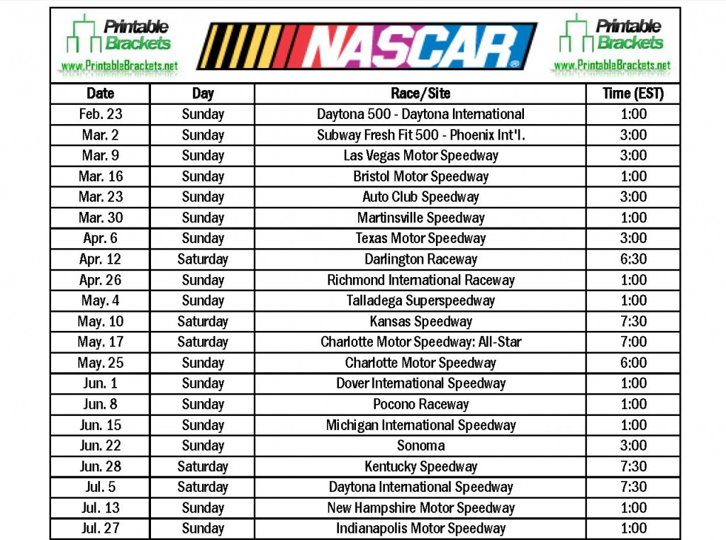 ... TV Schedule besides 2015 NASCAR TV Schedule together with NASCAR TV