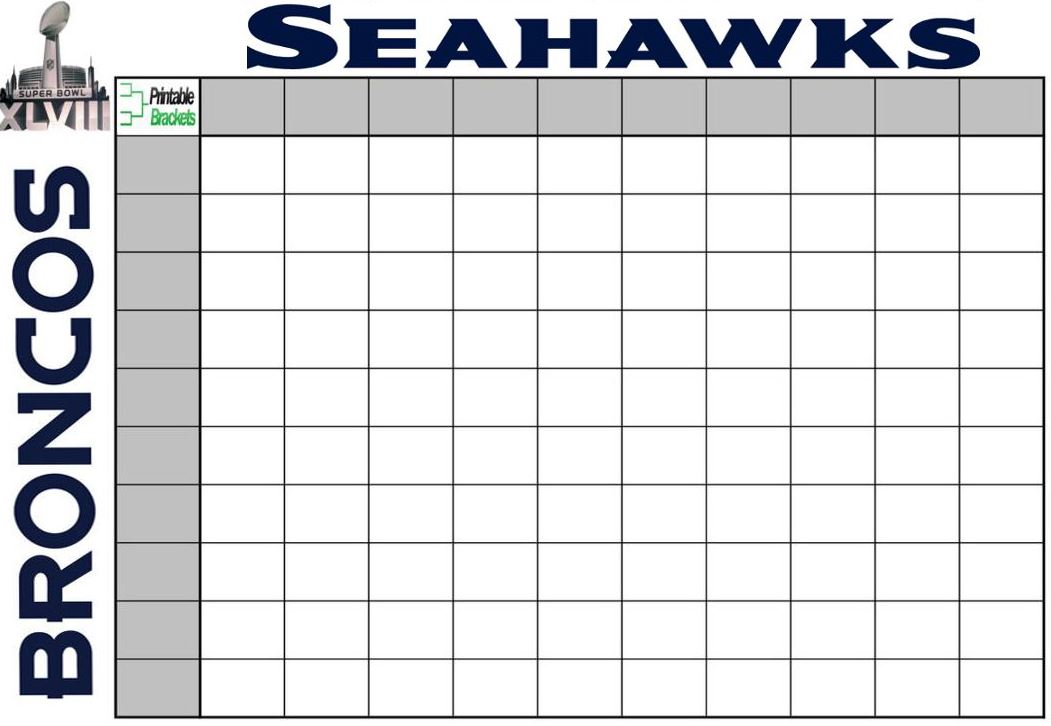 2015 super bowl pool squares template new calendar for Super bowl 2015 squares template