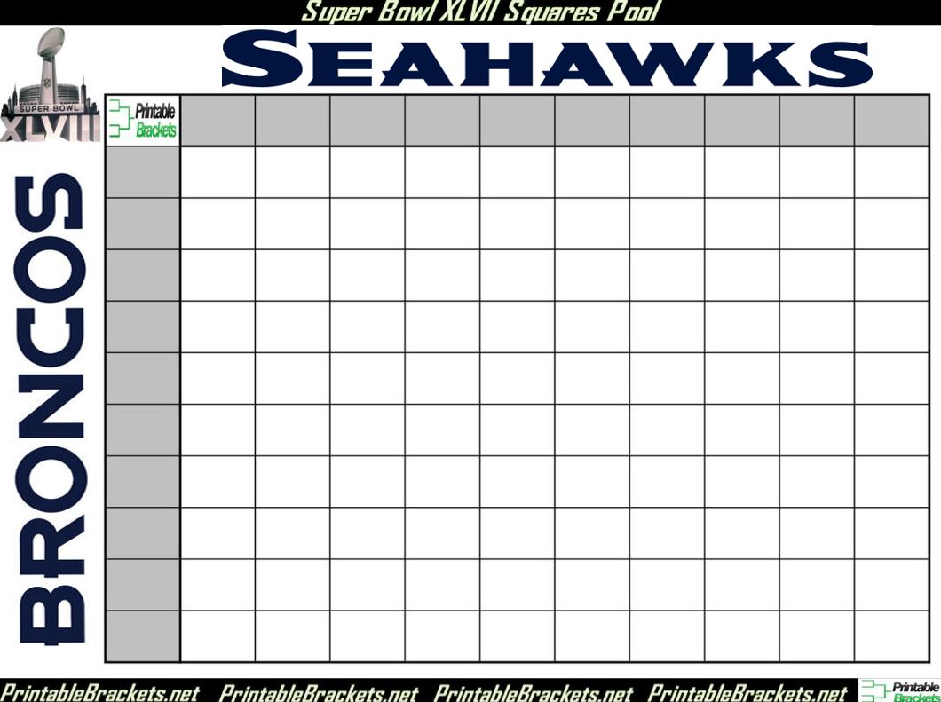 Super Bowl 100 Squares | New Calendar Template Site