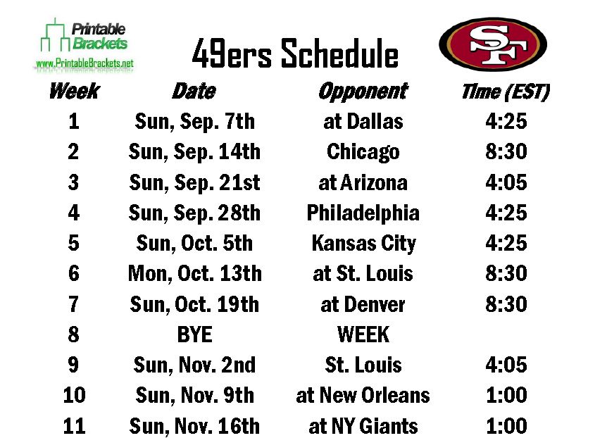 picture regarding 49ers Printable Schedule named 49ers Routine San Francisco 49ers Routine