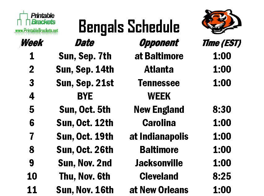 Printable Bengals Schedule