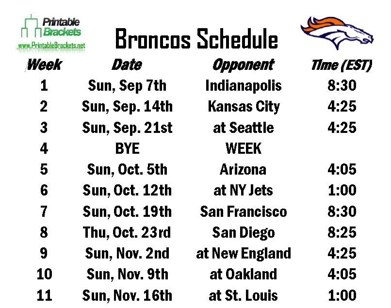 Printable Broncos Schedule