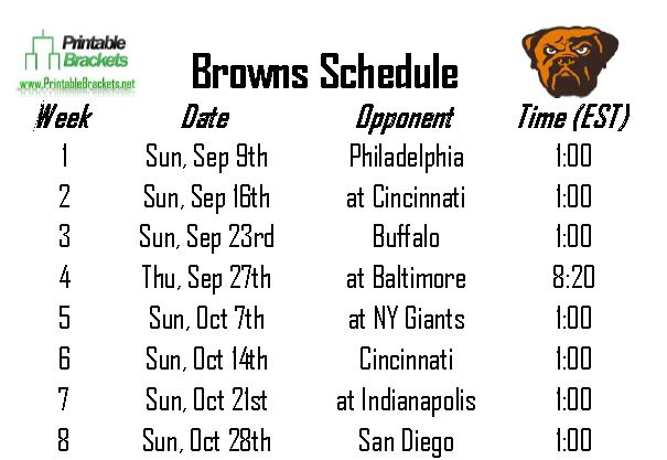 Browns Schedule | Cleveland Browns Schedule » Printable Brackets