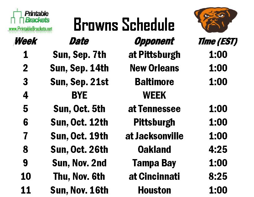 Printable Browns Schedule