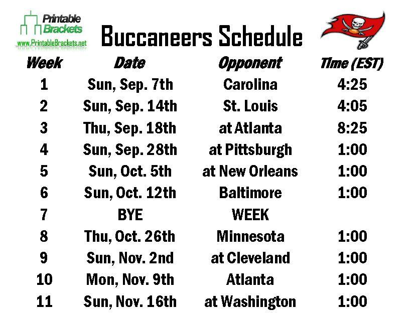 Free Buccaneers Schedule