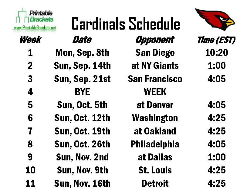 Printable Cardinals Schedule