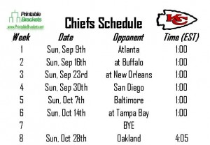 Screenshot of the Chiefs Schedule