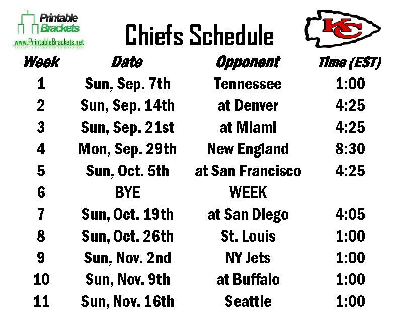 Printable Chiefs Schedule
