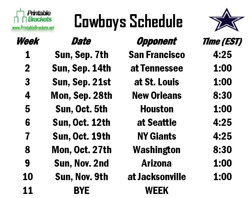 Printable Cowboys Schedule