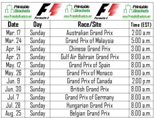 screenshot of the f1 schedule