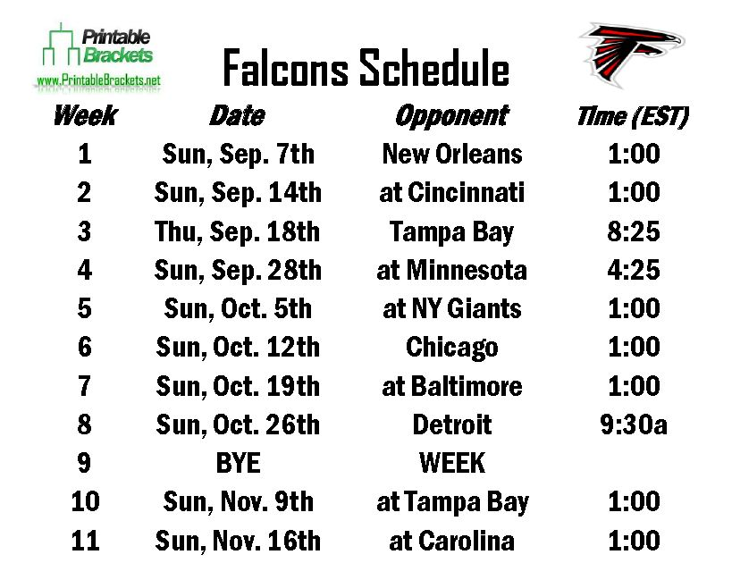 falcons schedule