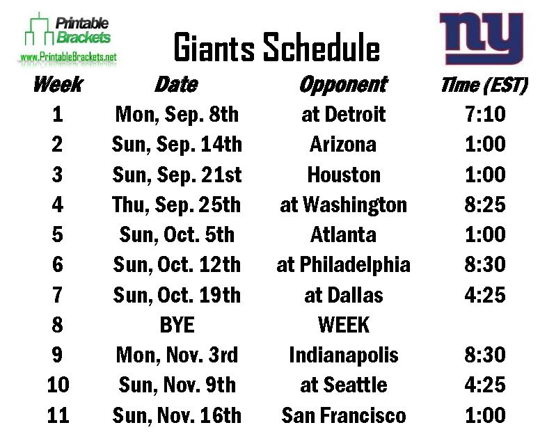 Giants Schedule | New York Giants Schedule » Printable Brackets