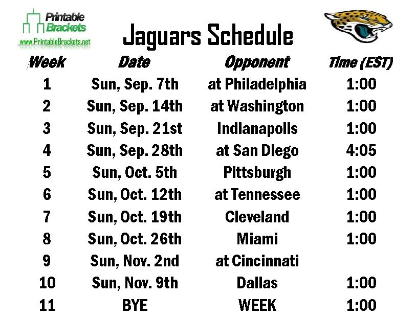 jaguars schedule jacksonville jaguars schedule printable brackets. Cars Review. Best American Auto & Cars Review