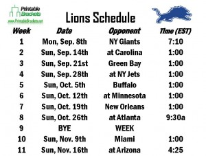 Printable Lions Schedule
