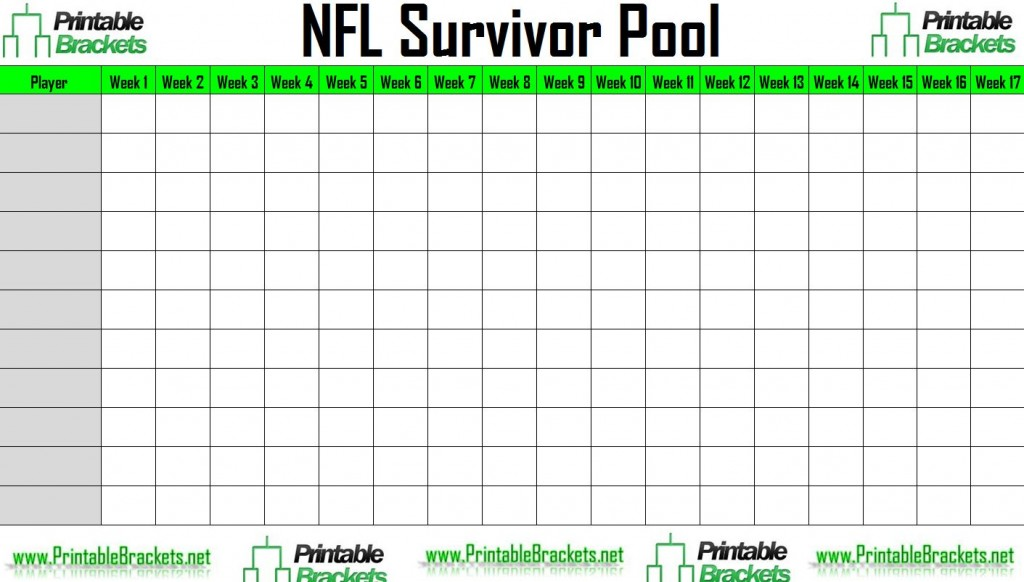 NFL Survivor Pool | NFL Suicide Pool » Printable Brackets