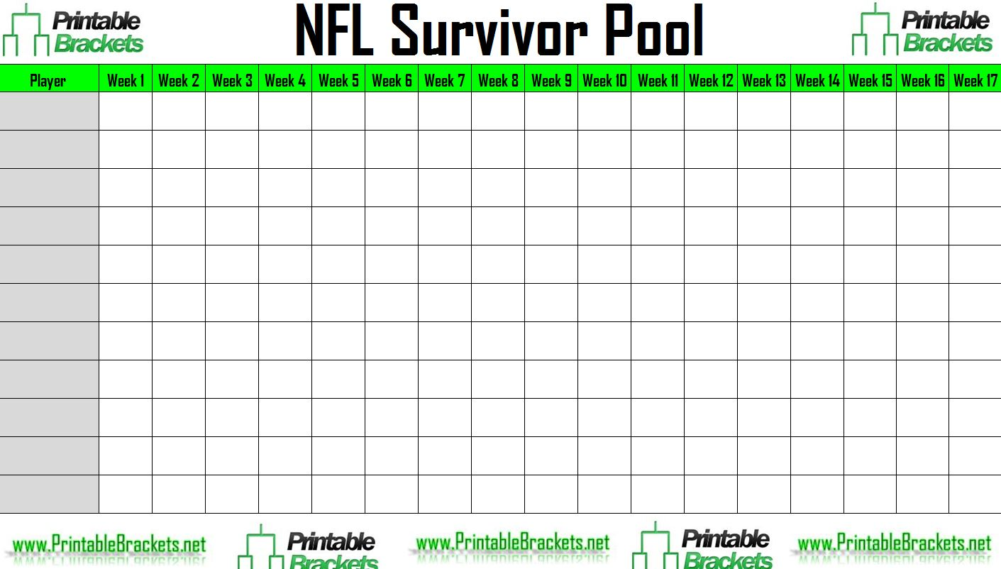 picture relating to Nfl Printable Pool Sheets named NFL Survivor Pool NFL Suicide Pool