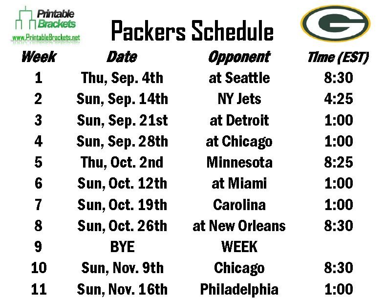 Free Packers Schedule