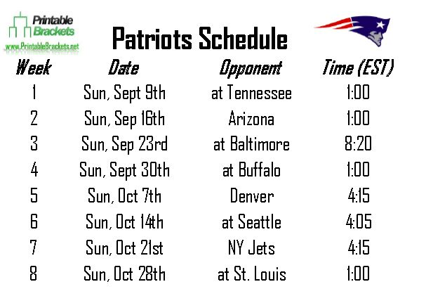 Patriots Schedule | New England Patriots Schedule ... Printable Nba Playoff Schedule 2015 Photos