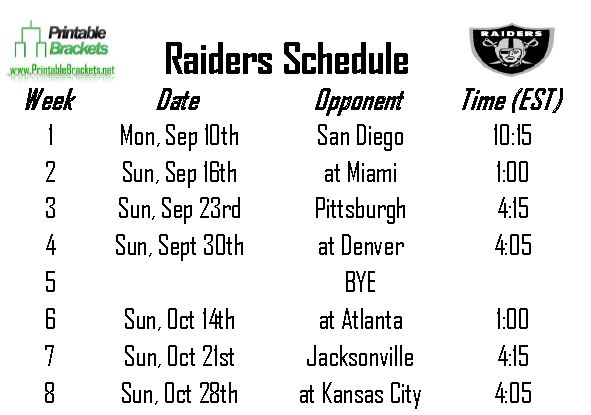Eloquent image with raiders printable schedule
