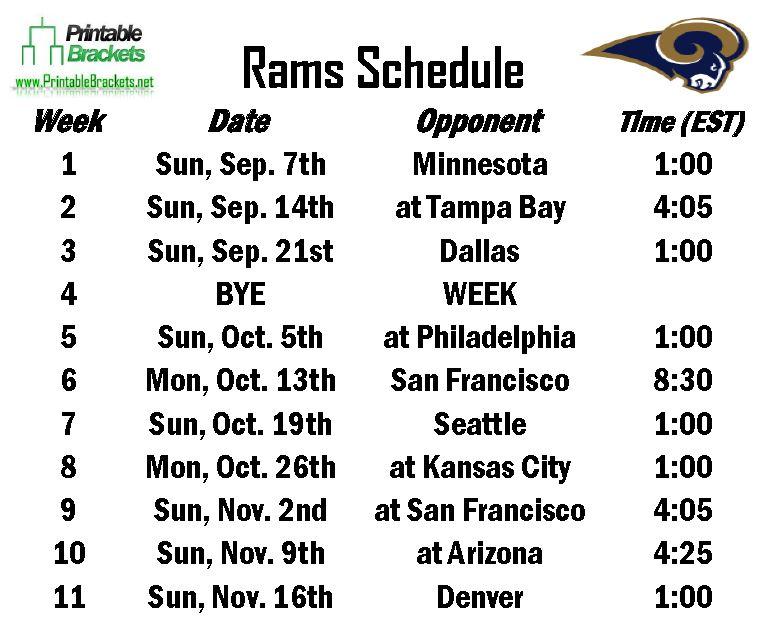 Free Rams Schedule