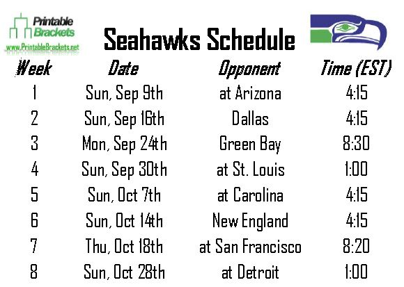 Seahawks Schedule | Seattle Seahawks Schedule » Printable Brackets