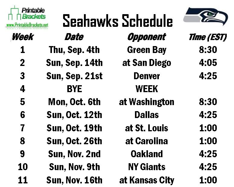 Printable Seahawks Schedule