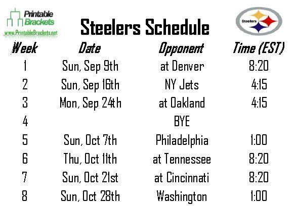 Steelers Schedule | Pittsburgh Steelers Schedule » Printable Brackets