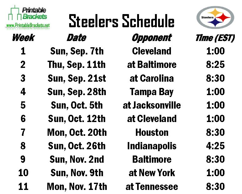 Steelers Schedule | Pittsburgh Steelers Schedule » Printable Brackets