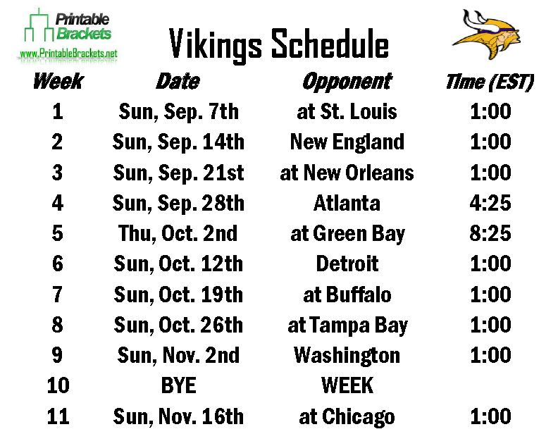picture regarding Printable Packer Schedule named Vikings Program Minnesota Vikings Timetable