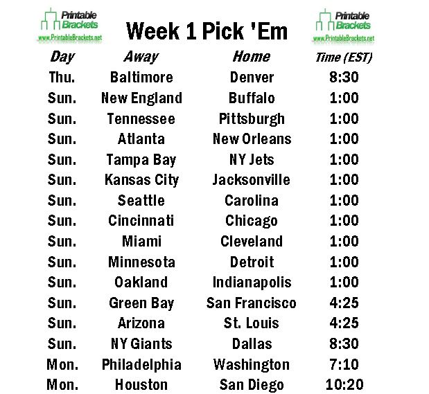 2014 Week 1 NFL Pick Em Sheet