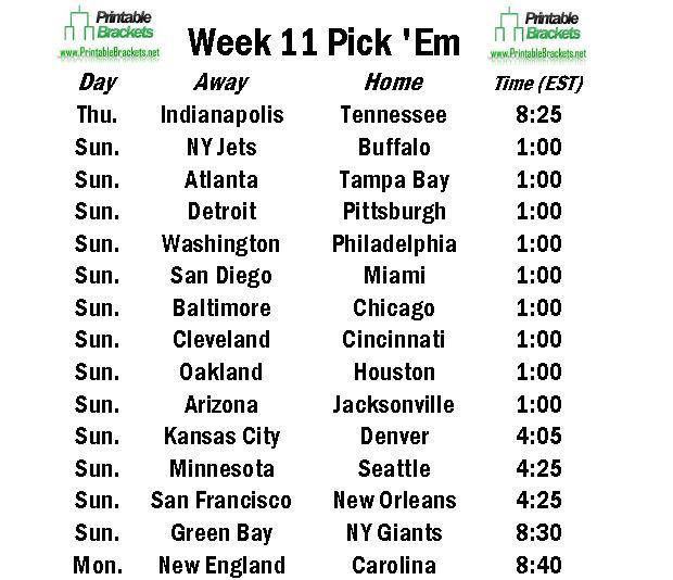 NFL Pick Em Week 11 | Pro Football Pick Em Week 11 » Printable ...