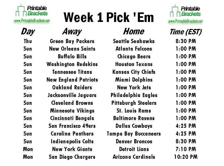 NFL Pick Em Week 1 Sheet