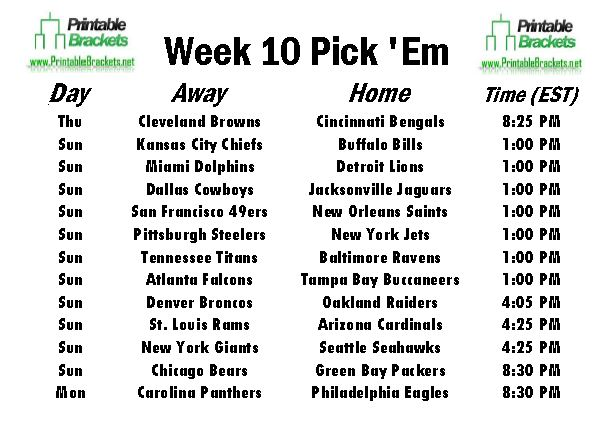 NFL Pick Em Week 10 sheet