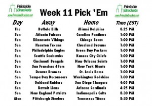 NFL Pick Em Week 11 sheet