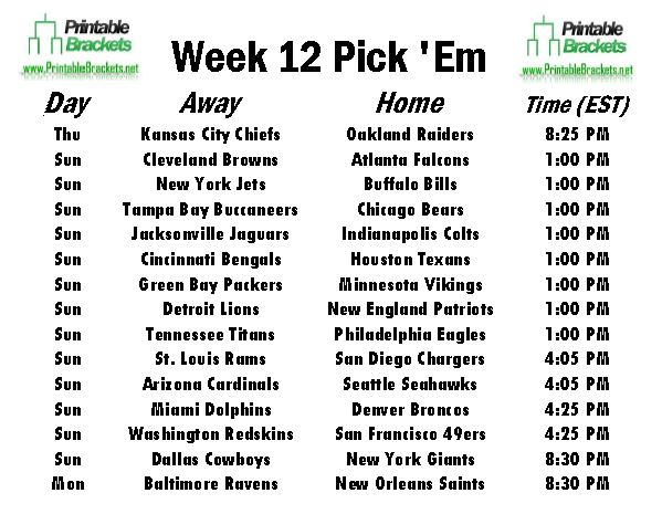 NFL Pick Em Week 12 sheet
