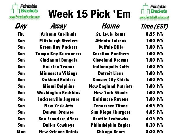 NFL Pick Em Week 15 sheet