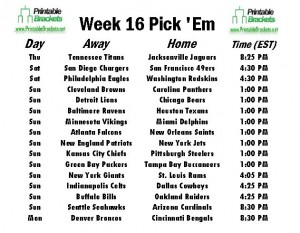 NFL Pick Em Week 16 sheet