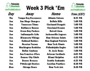 NFL Pick Em Week 3 sheet