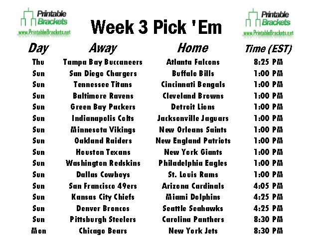 photo relating to Printable Nfl Pickem Sheets named NFL Choose Em 7 days 3 Specialist Soccer Opt for Em 7 days 3