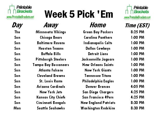 NFL Pick Em Week 5 sheet