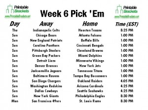 NFL Pick Em Week 6 sheet
