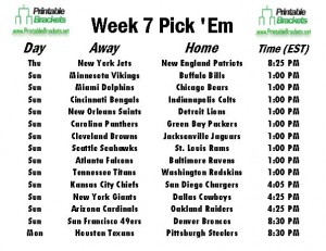 NFL Pick Em Week 7 sheet