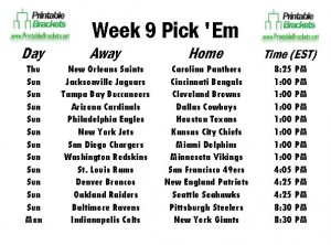 NFL Pick Em Week 9 sheet