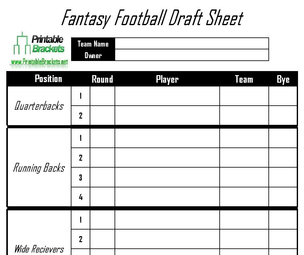 Fantasy Football Draft Sheet | Printable Fantasy Football Draft Sheet