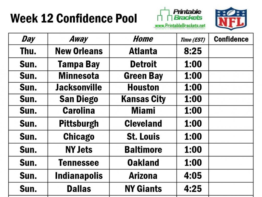 NFL Confidence Pool Week 12 | Football Confidence Pool ... Printable Nba Playoff Schedule 2015 Photos
