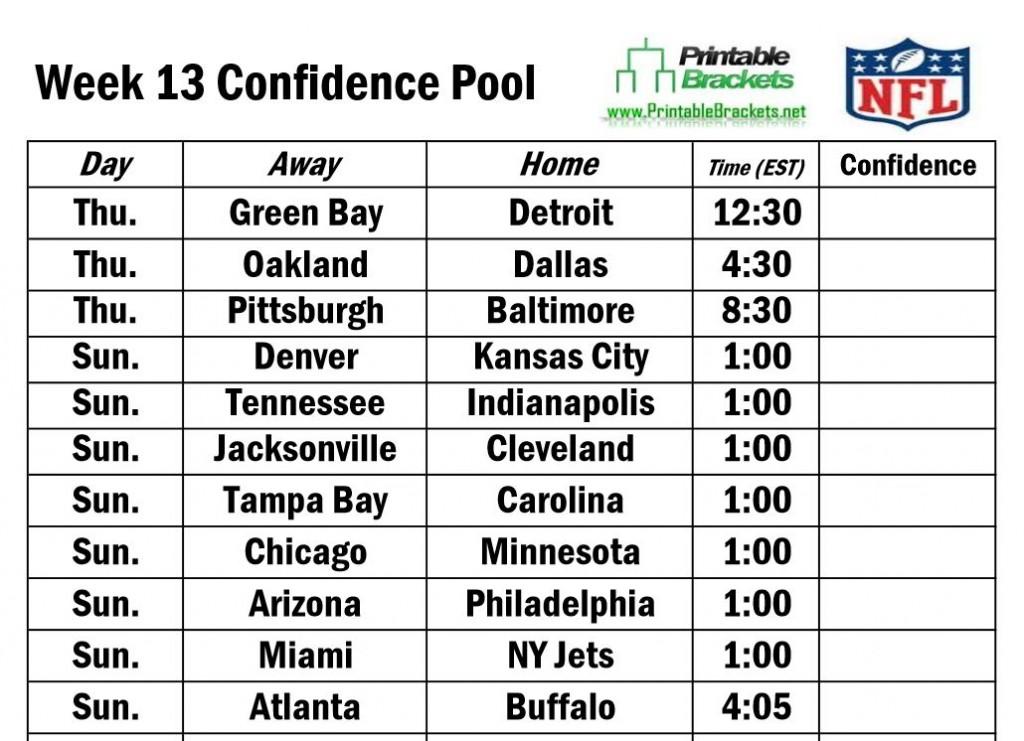 NFL Confidence Pool Week 13 | Football Confidence Pool Week 13 » Printable Brackets