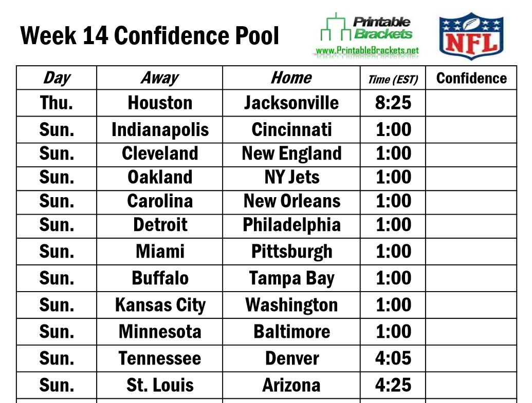 Printable NFL Schedule Week 2
