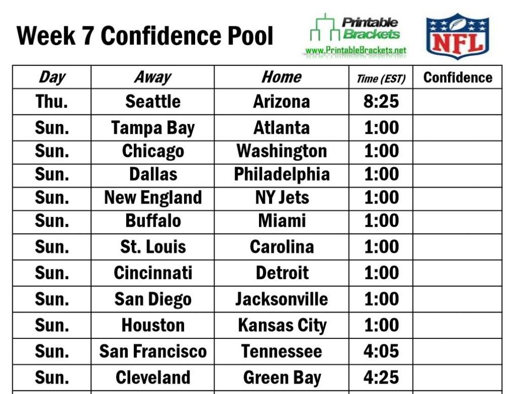 NFL Football Pool Sheets Templates